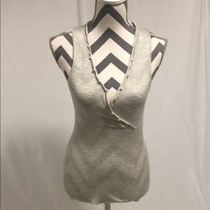 NWT WHBM Gray Sleeveless Crossover Blouse Size S